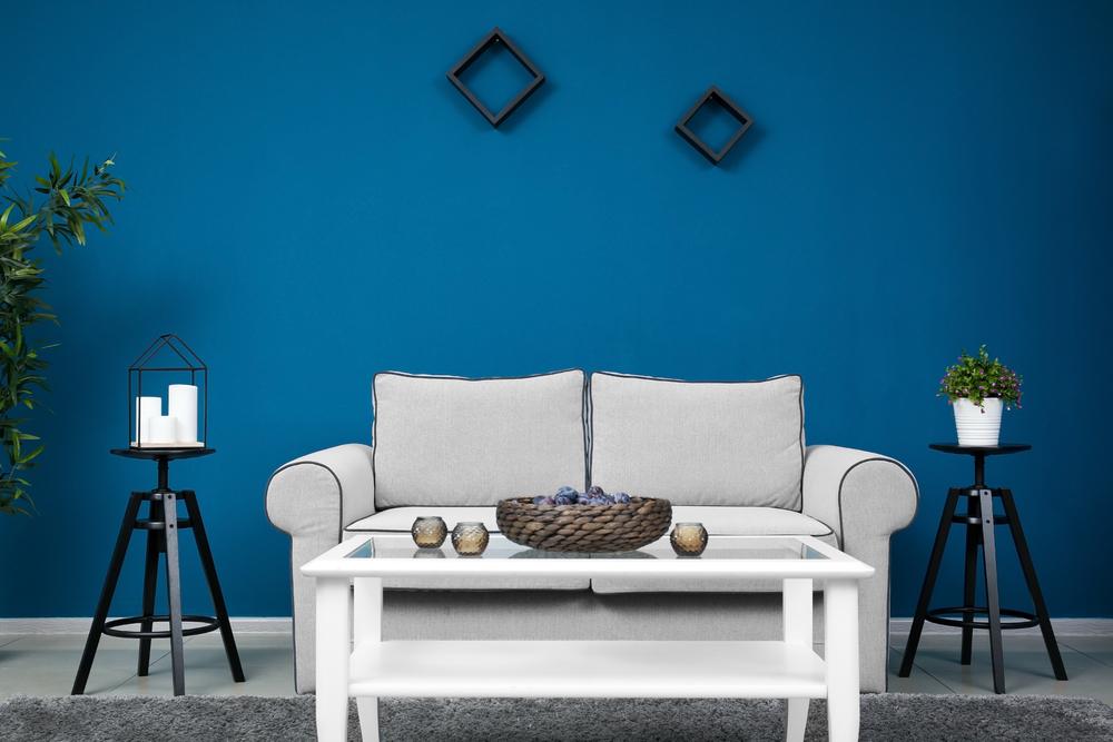 Dark blue living room color
