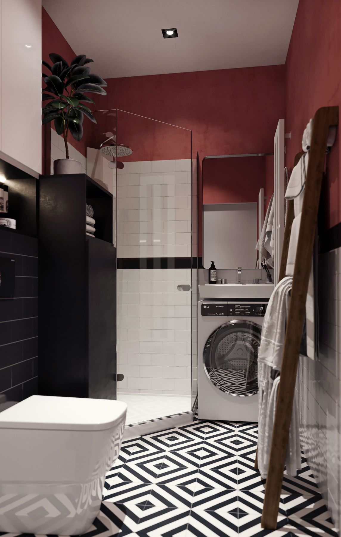 Clever burgundy colored bathroom