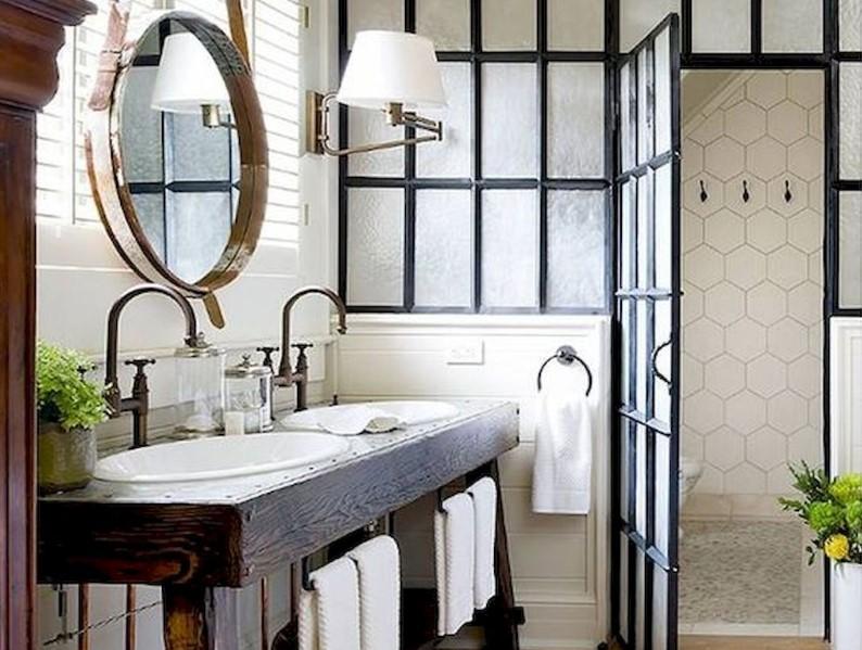 45 Farmhouse Bathroom Ideas 2020 (With Natural Accents) 10