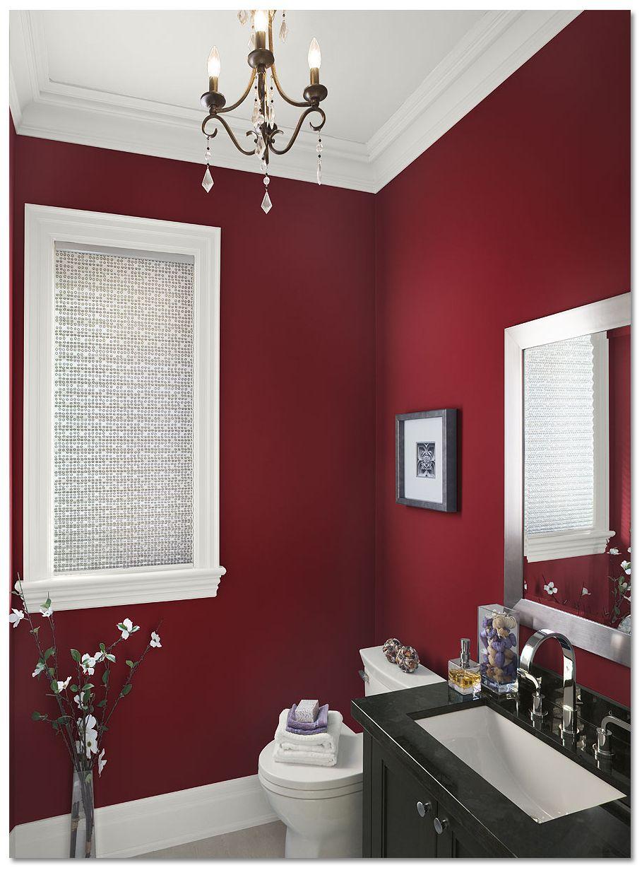 Graceful burgundy colored bathroom