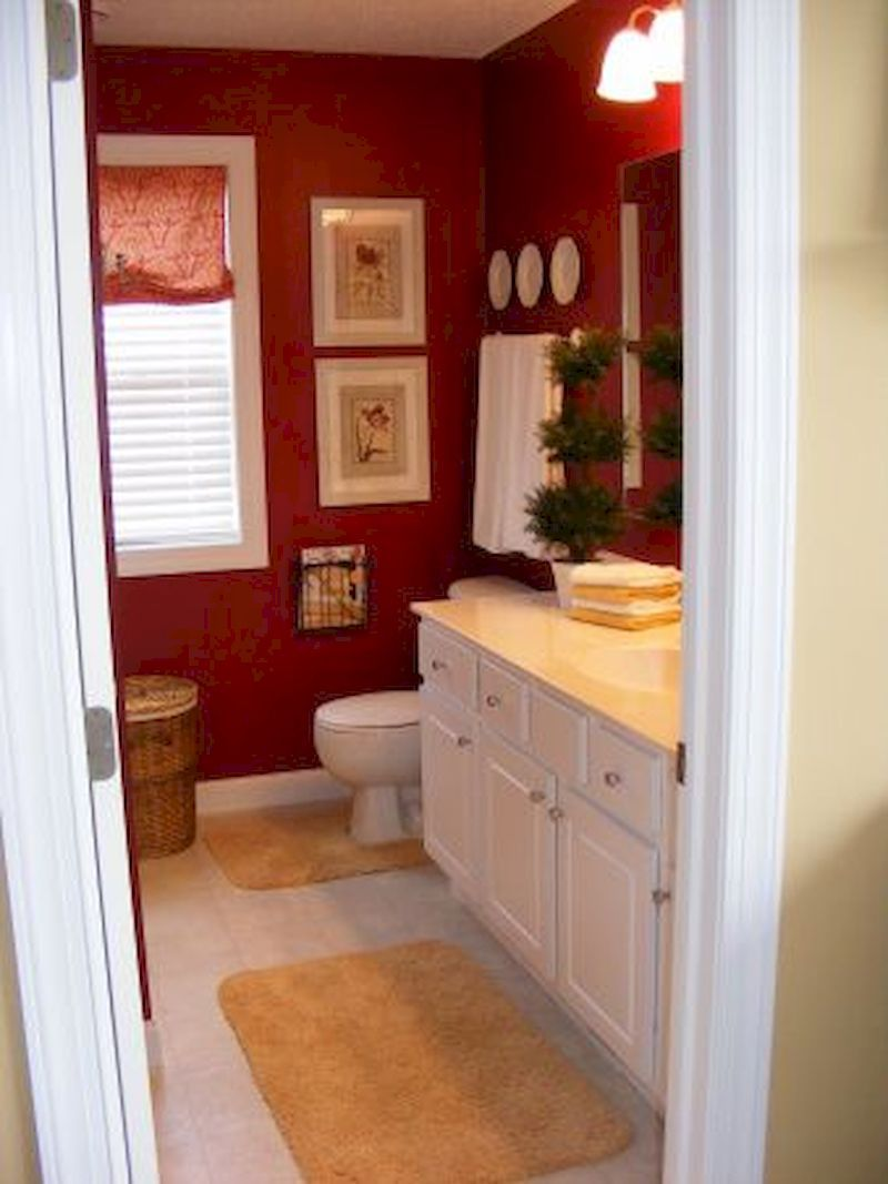 Attractive burgundy colored bathroom