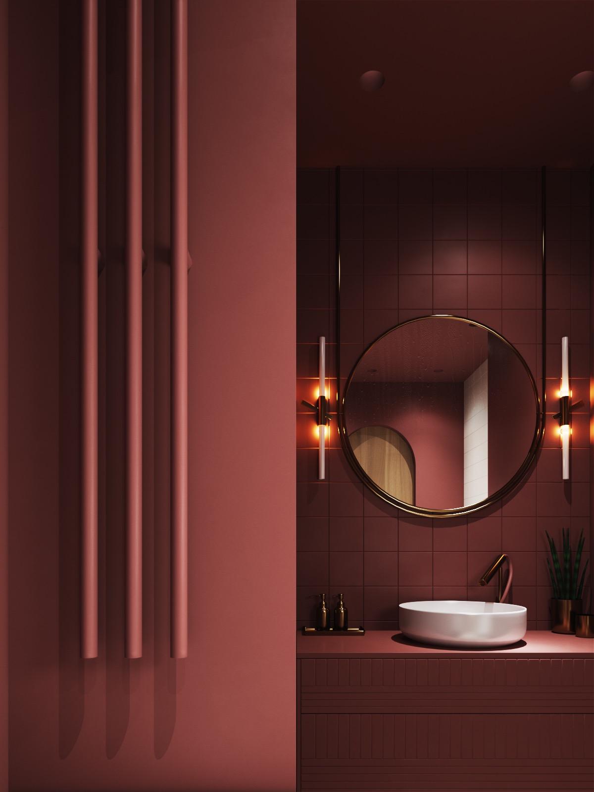 Excellent burgundy colored bathroom