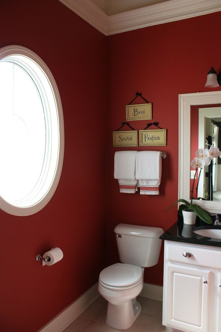 Nice burgundy bathroom