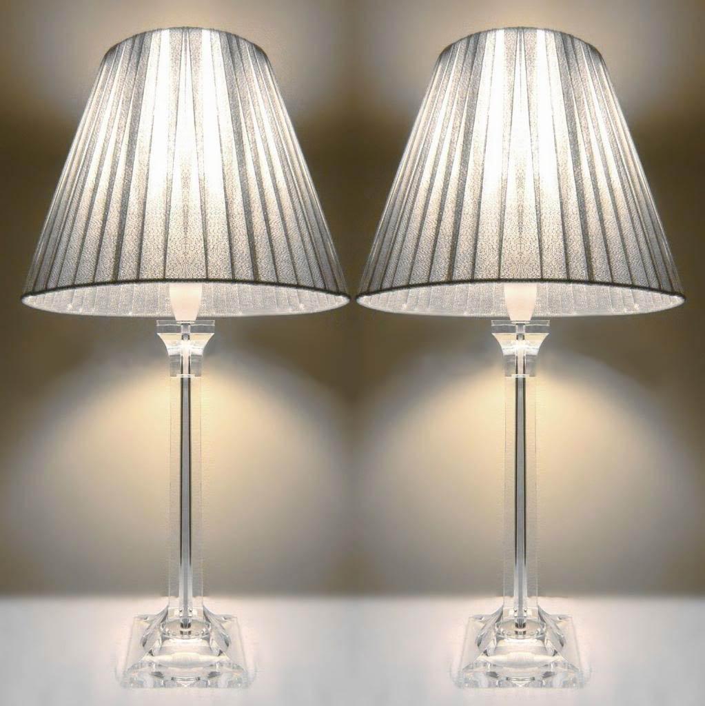 2x acrylic & ribbon bedside lamps in silver NTNTYER