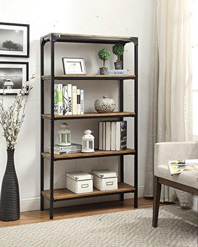 5-tier vintage brown industrial look bookcase made of black metal Bookcase shelf heavy CKVHHRS