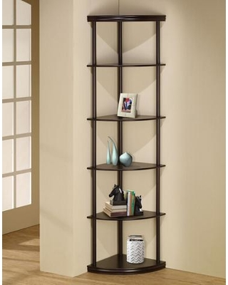 Corner shelf with 6 levels in the shape of a piece of cake made of wood with espresso finish AYMNKVF