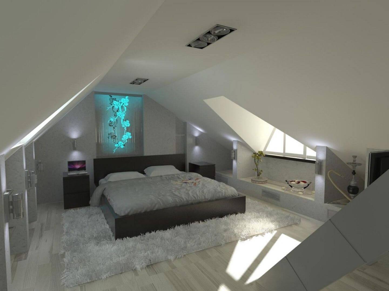 Elegant bedroom in the attic