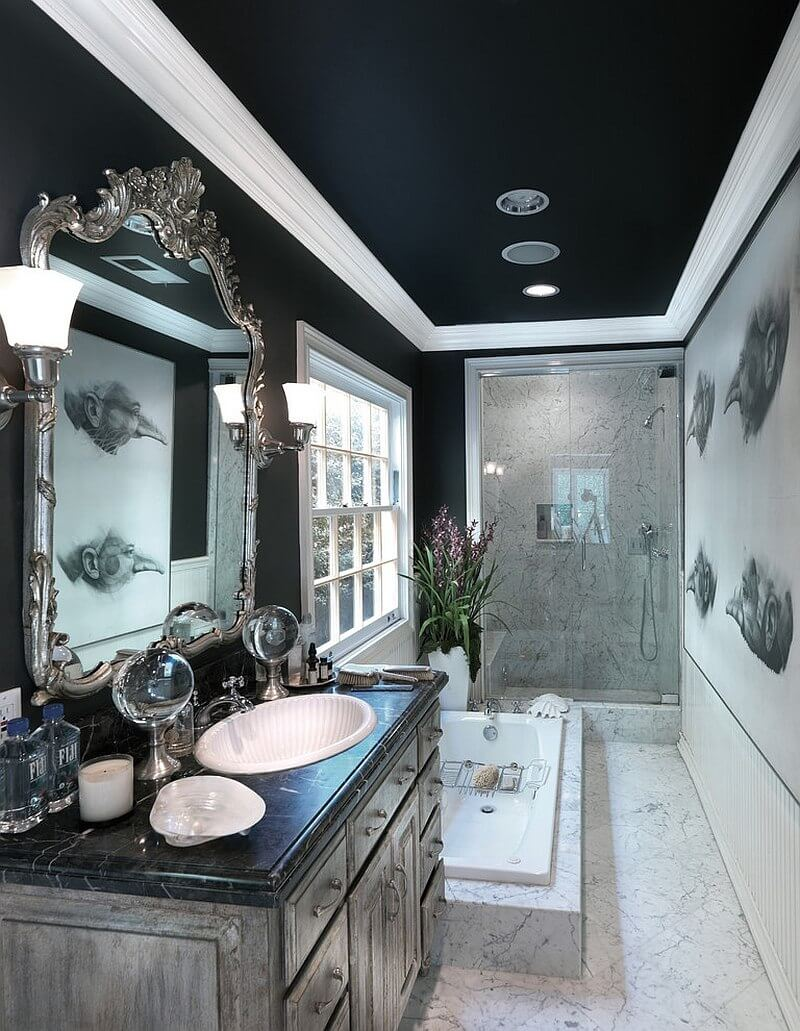 Elegant black bathroom