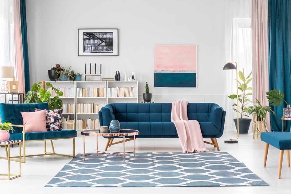 Living room in pastel look
