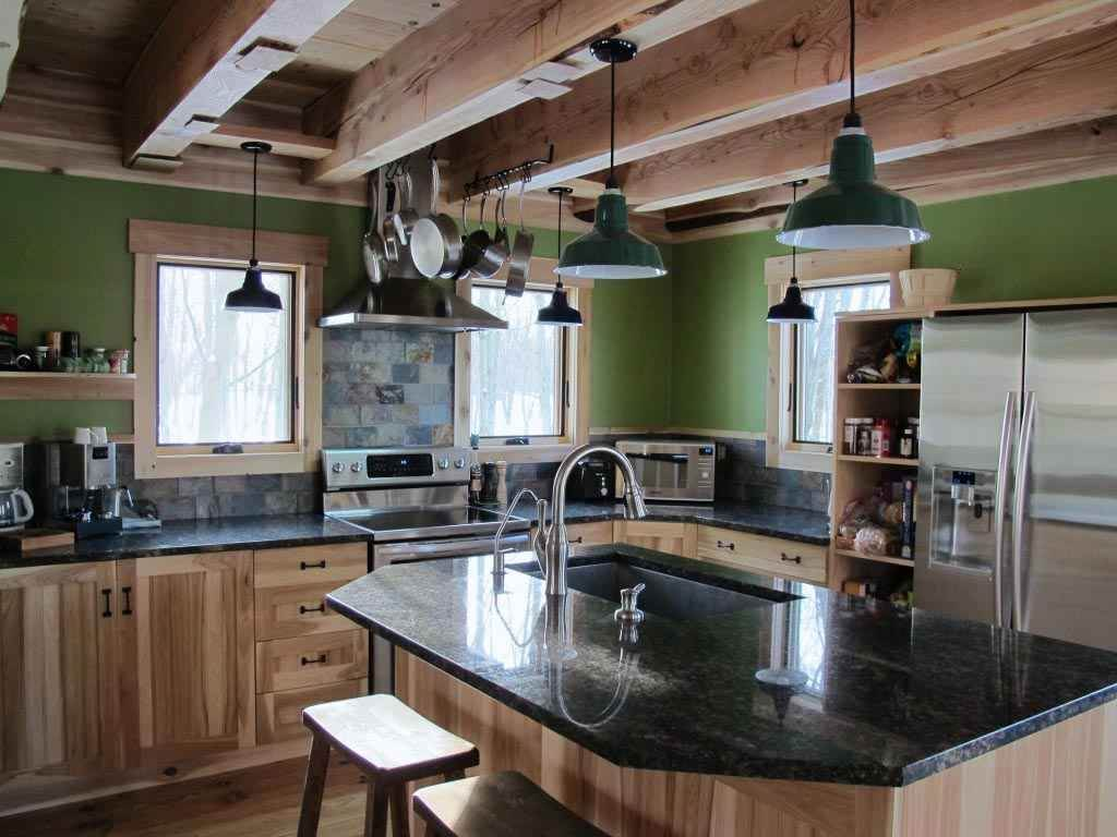 Green country kitchen lighting