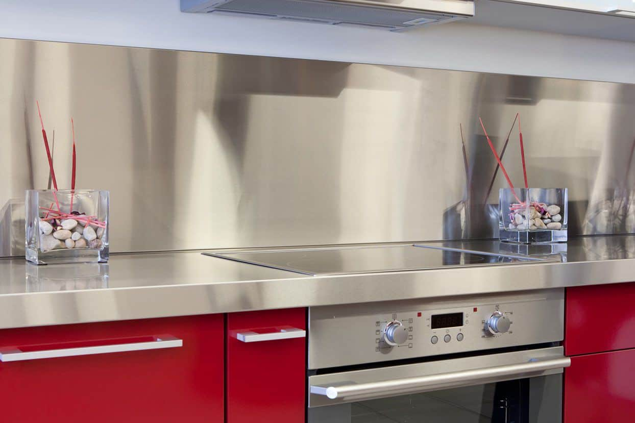 Simple kitchen back wall made of stainless steel