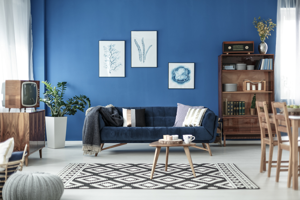 Mid-century gray and blue living room