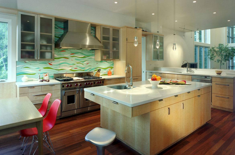 Kitchen island with a minimalist sink