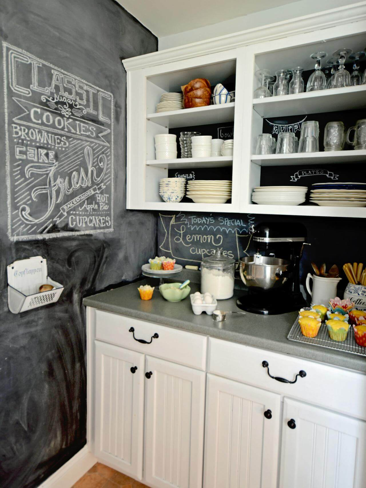 Simple open kitchen cabinet