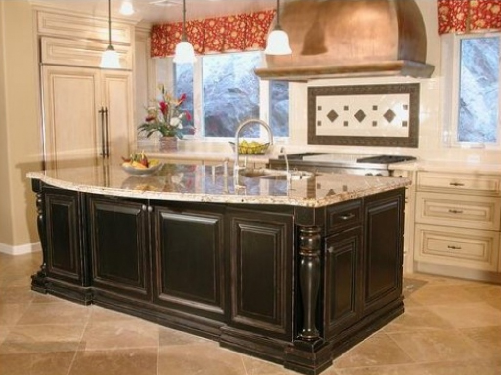 Kitchen island with a couple of taps in the sink