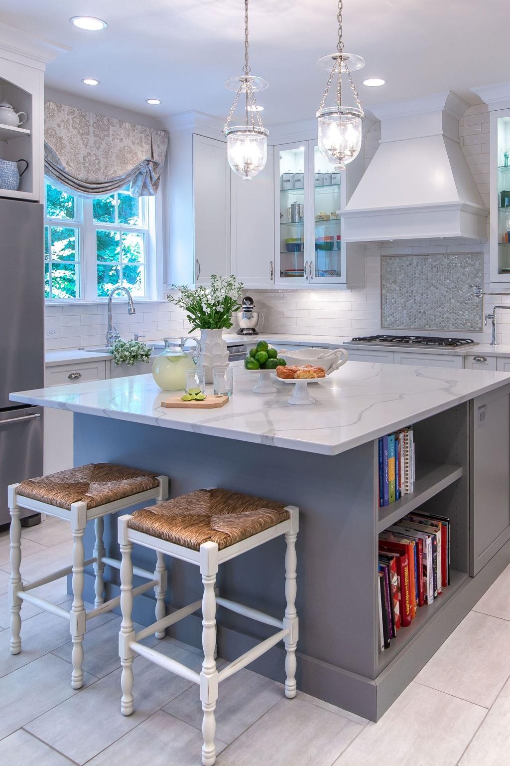 Soft kitchen island with bookcase