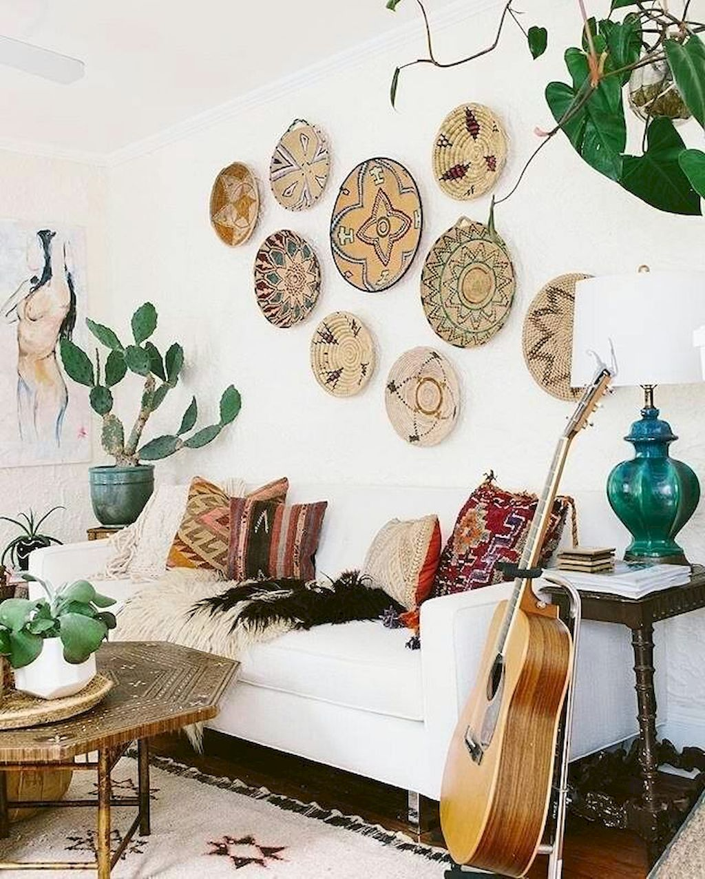 Collectibles as inspiration for wall art in the living room.  Source: willieclancyfestival.com