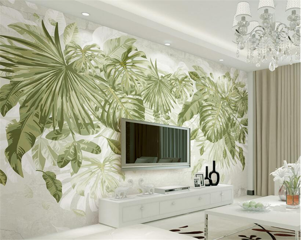 Living room with green wallpaper.  Source: AliExpress.com