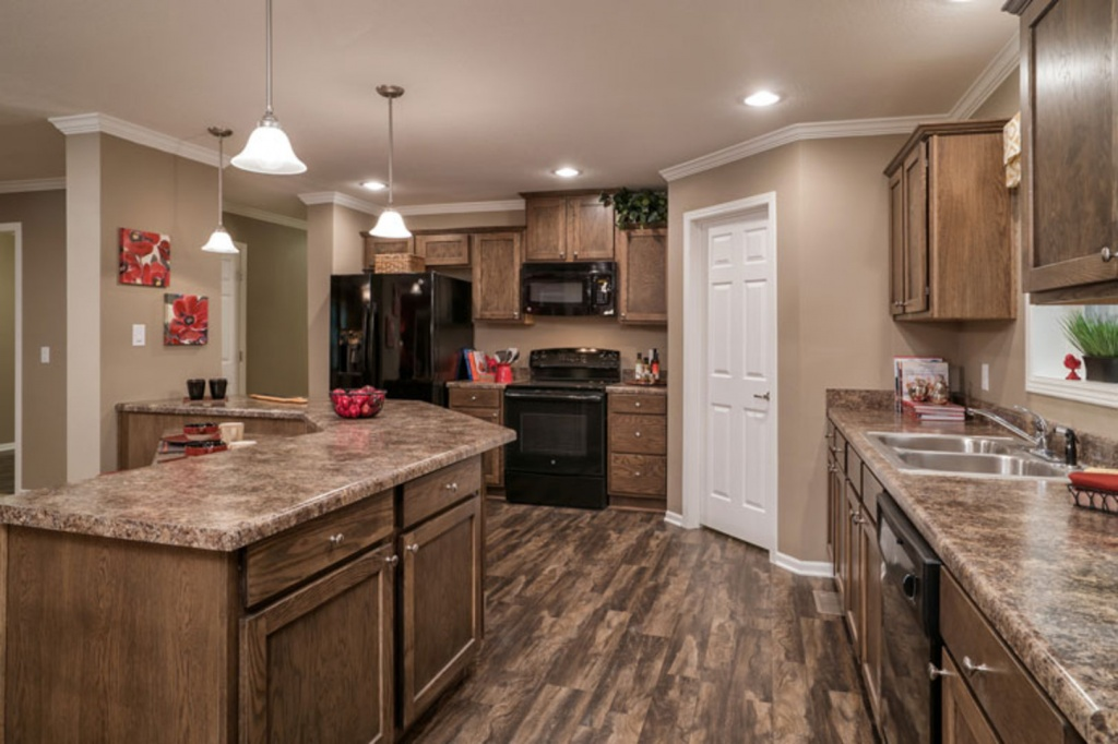 Warm mobile home kitchen