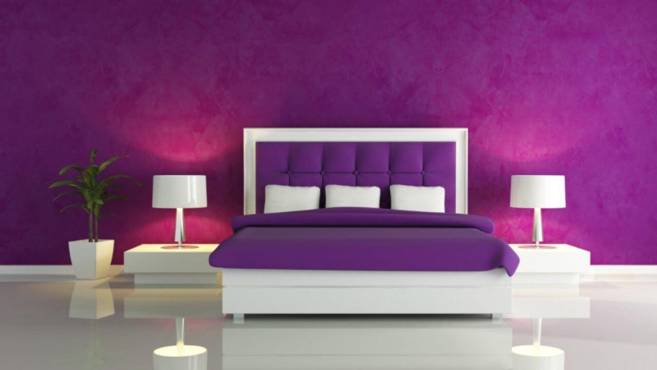 Minimalist purple bedroom