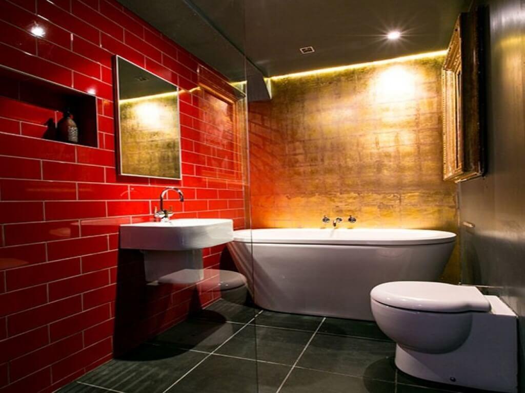 Bright red bathroom