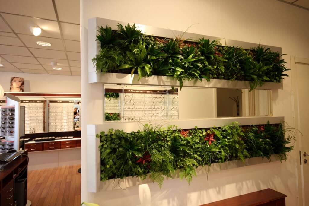Concrete with plants as a room divider