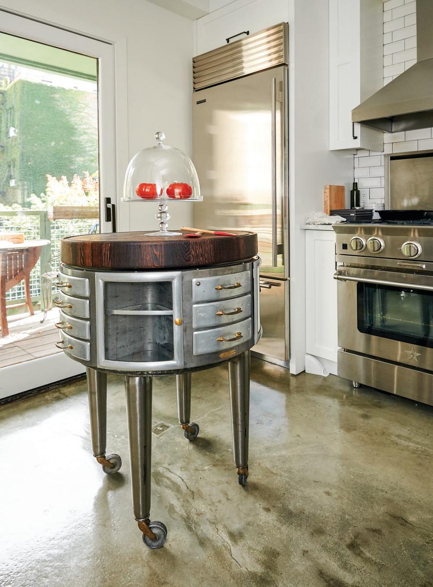 Futuristic, round kitchen island