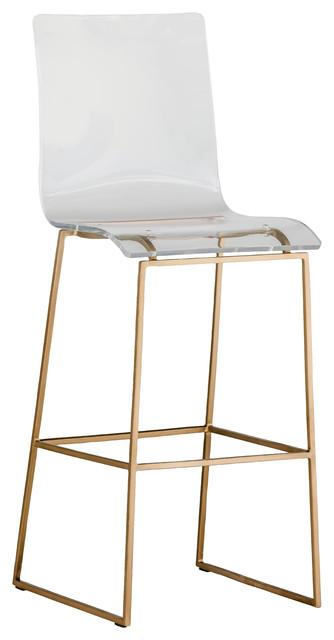 Acrylic bar stool Alonso iron foot bar stool, gold, large KHORNWK