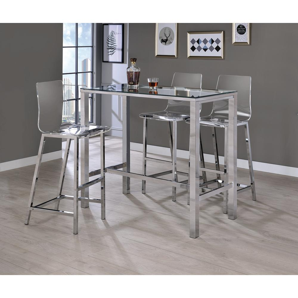 Acrylic bar stool clear and chrome-plated Acrylic bar stool (set of 2) AHTUSEO