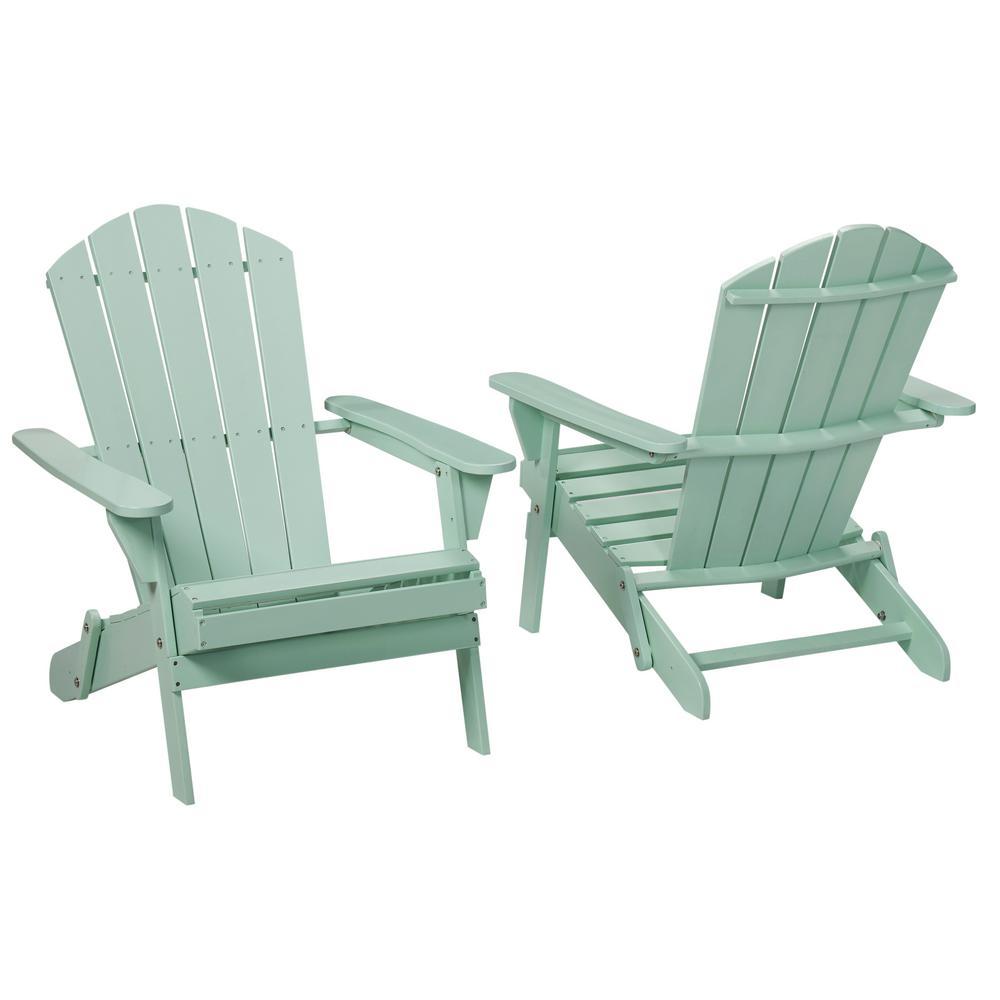 Adirondack Chairs Hampton Bay Mist Folding Outdoor Adirondack Chair (2-Pack) VHGCYMZ