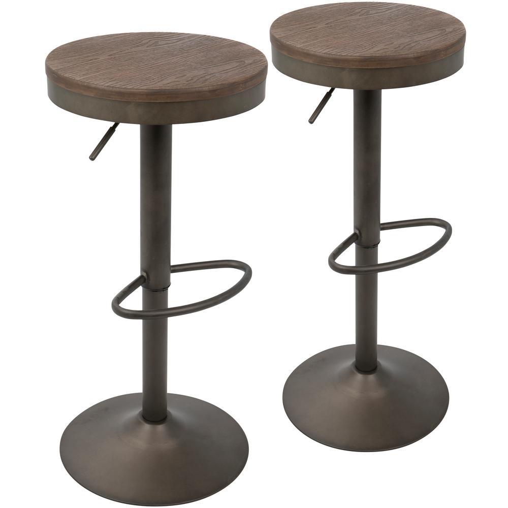 adjustable bar stool Lumisource Dakota antique and brown adjustable bar stool (set of 2) QABEVWX