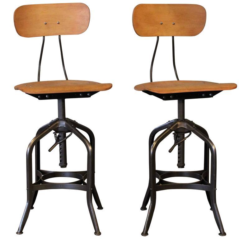 adjustable bar stools pair of bar stools - curved plywood vintage industrial toledo adjustable chairs ECSOXRS