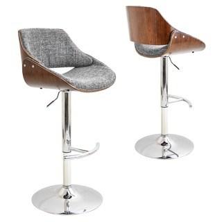 adjustable bar stool knit & Bolton Blakey Mid-Century Modern walnut wood and fabric adjustable AHRSCAQ