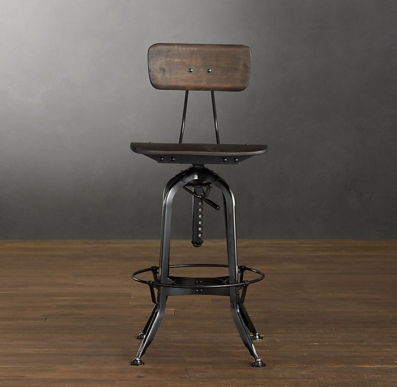 adjustable bar stool with backrest OPQYQFQ