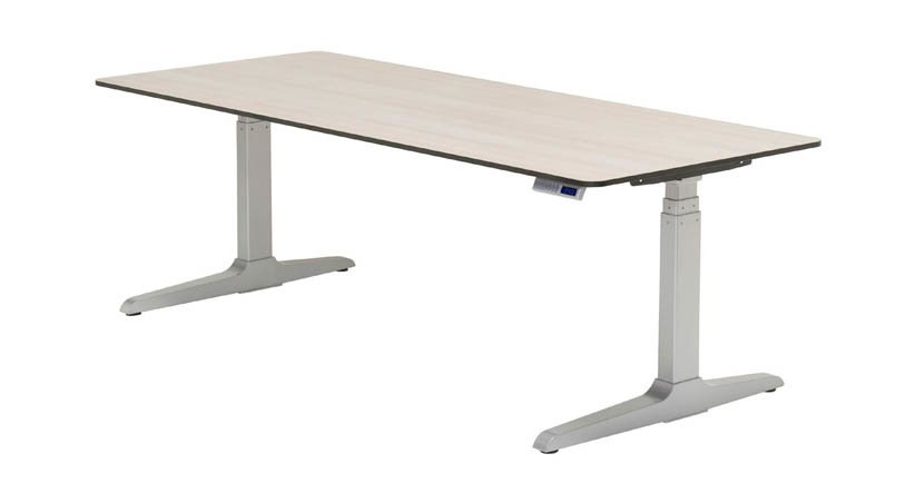 The adjustable desk has a hidden cross bar that gives you more legroom while providing stability. SRCEBMQ