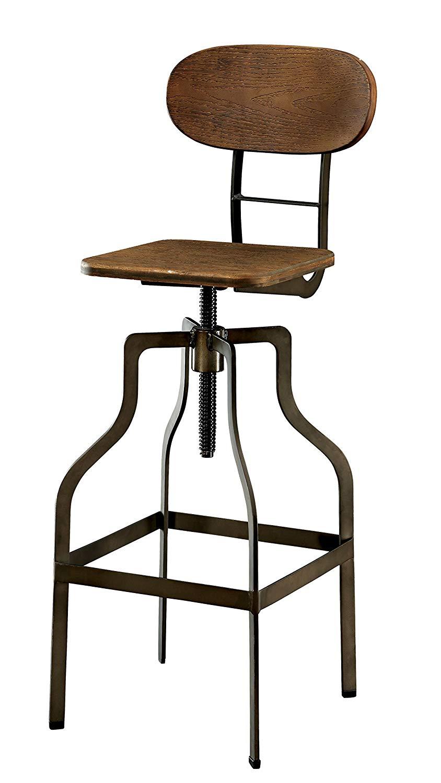 adjustable swivel bar stool with back amazon.com: Furniture of america alavus industrial height-adjustable swivel bar stool, oak: kitchen BHHDMCH