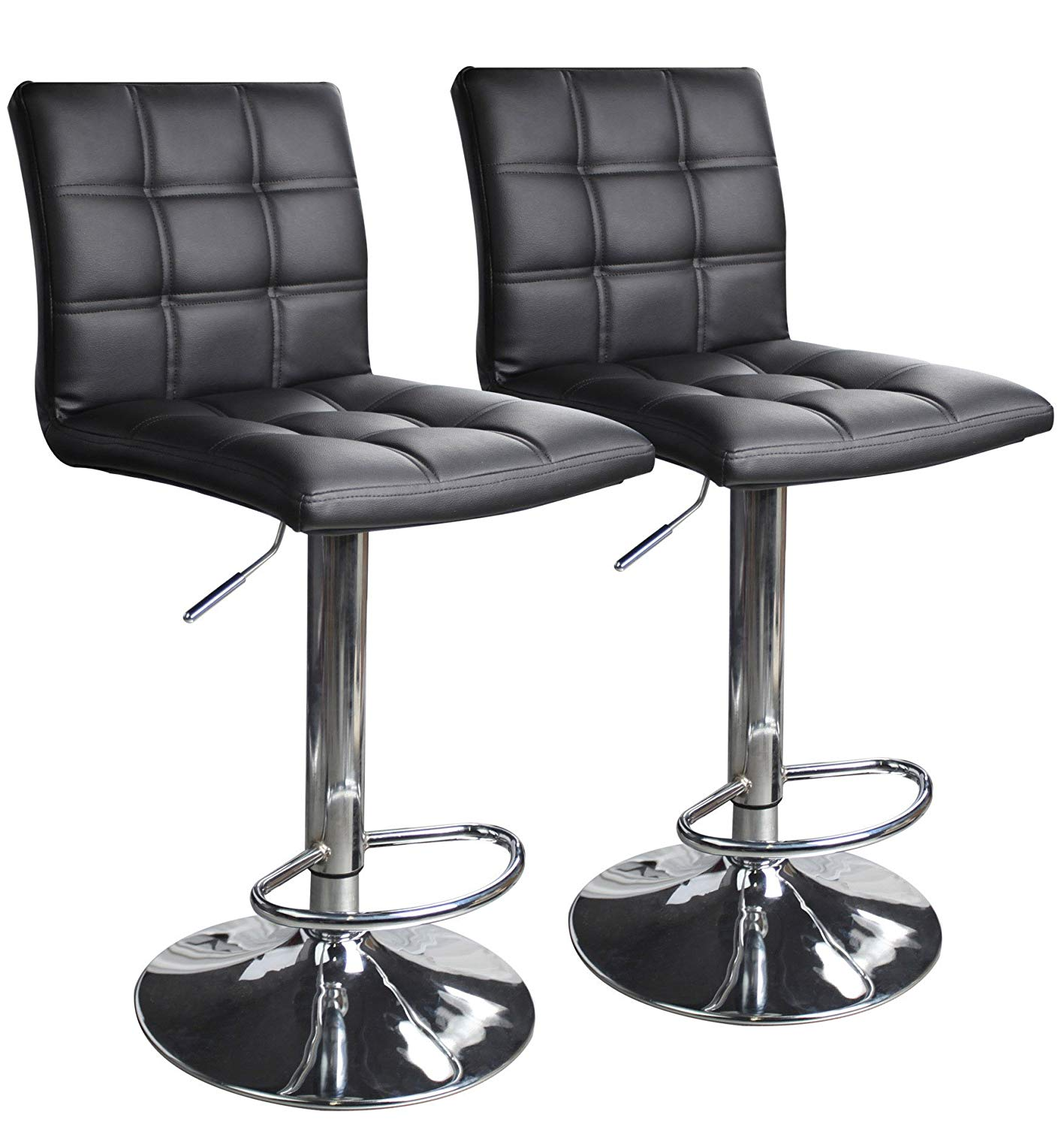 adjustable swivel bar stool with back amazon.com: modern square adjustable bar stool made of synthetic leather with back, set by FQMQUAU