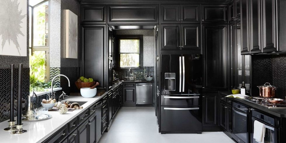 great black kitchen cabinets that are all the rage for 2018 ZPJAZQP