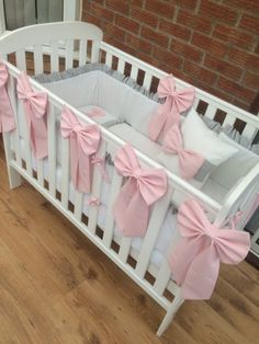 great cot bedding set with chevron bar in pink and gray AKOWRNB