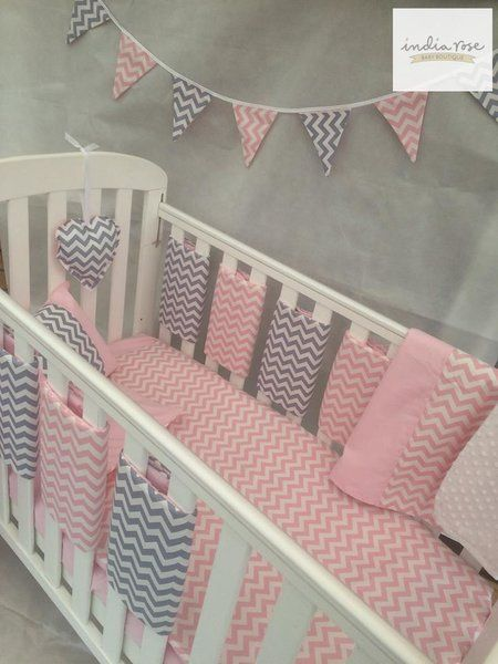 great pink and gray chevron bar bedding set for cot |  India GXXGQMT