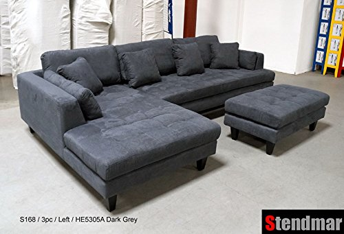 amazon.com: 3-piece modern sofa set made of dark gray microfiber s168ldg: Kitchen UOZVKPE