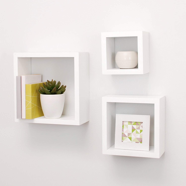 amazon.com: kiera Grace cubbi modern floating wall shelves, 5 x 5 inches, ZUFHXJW