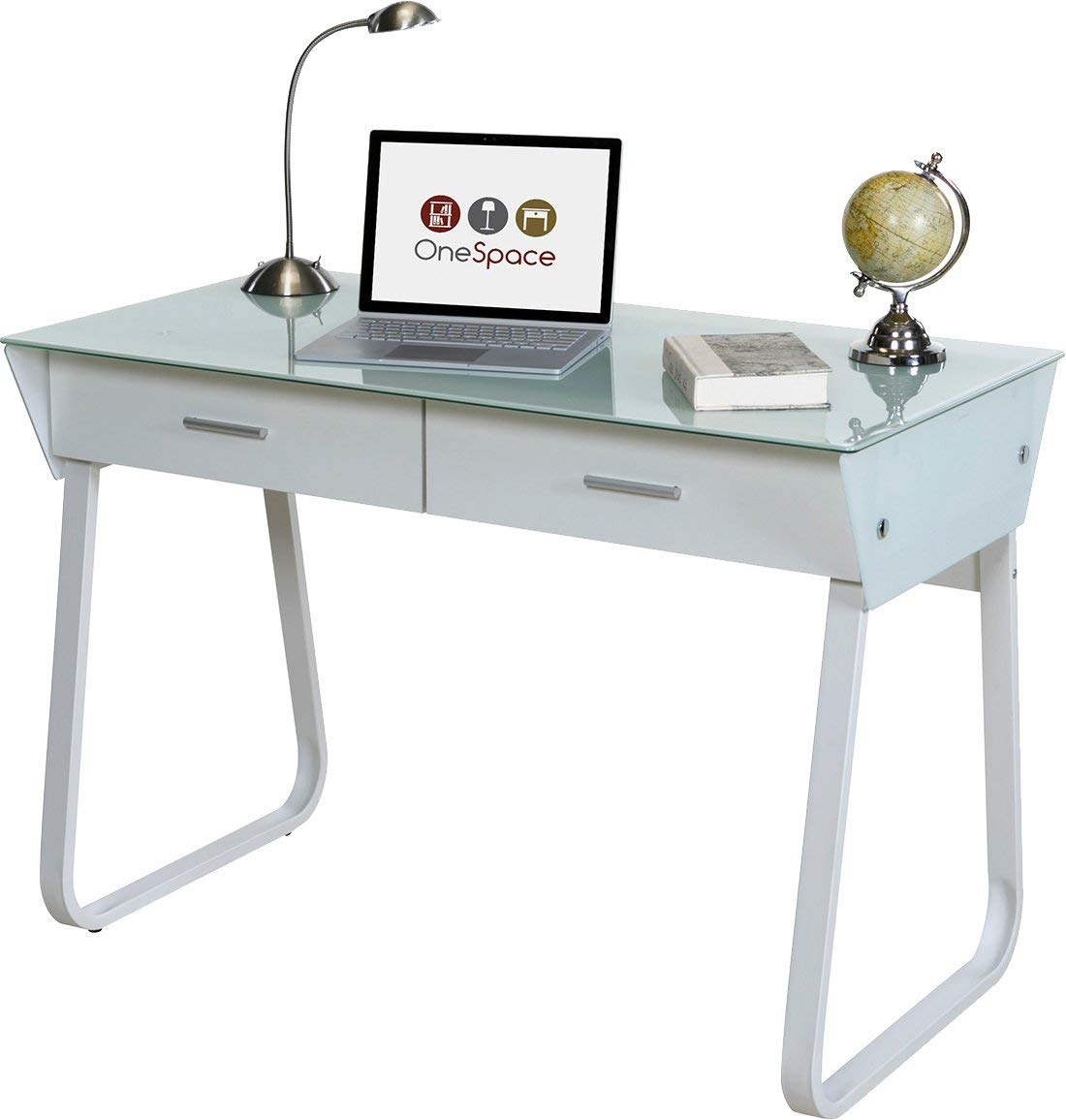 amazon.com: onespace ultra-modern computer table made of glass with drawers, white: kitchen & BOUSHOV