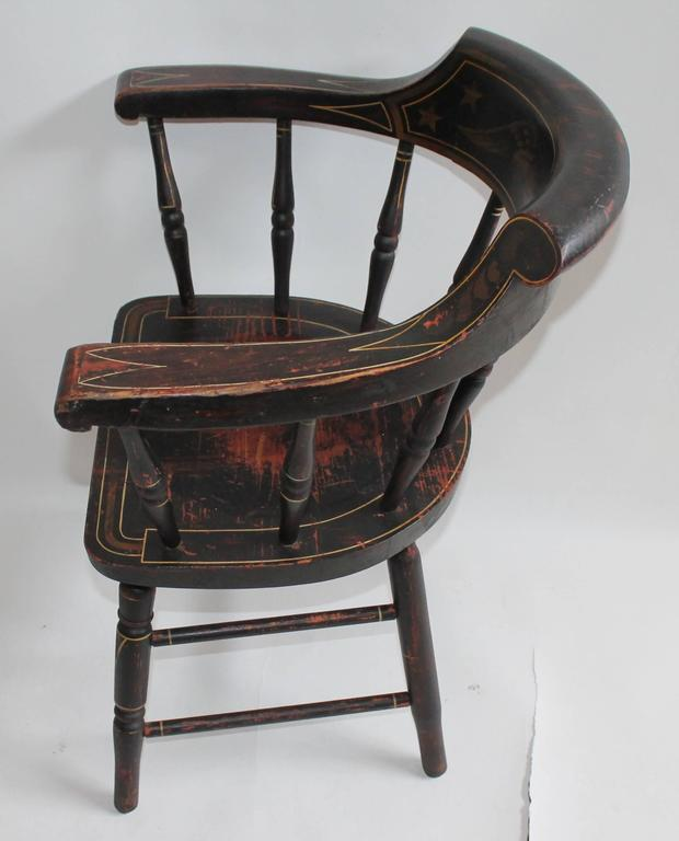 American classic from the 19th century, originally lacquered captain's chair with eagle ZZPWWHP