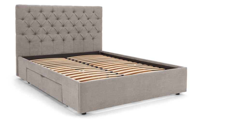 an upholstered king-size bed with storage space in owl gray ORCJVXL