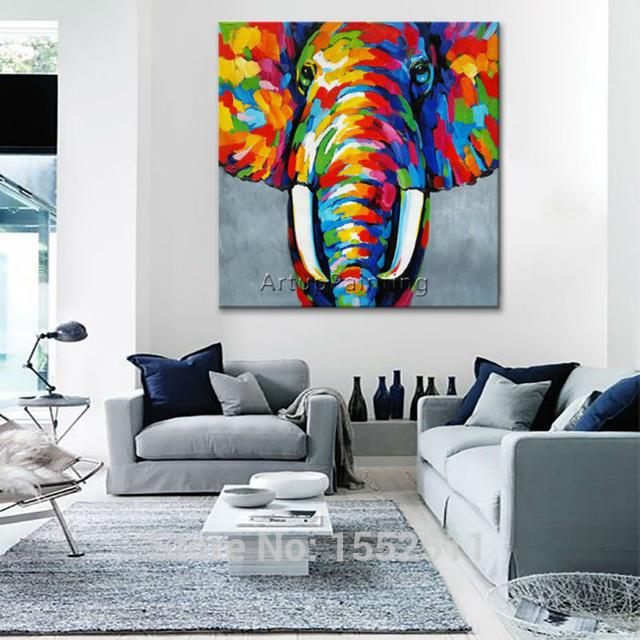 Animal Elephant Oil Painting On Canvas Paintings For Living Room Wall Art DVYEATE
