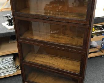 Antique Barrister Oak Bookcase c1881-1904 four stacks 34x14x60h New England furniture ABLCJEZ
