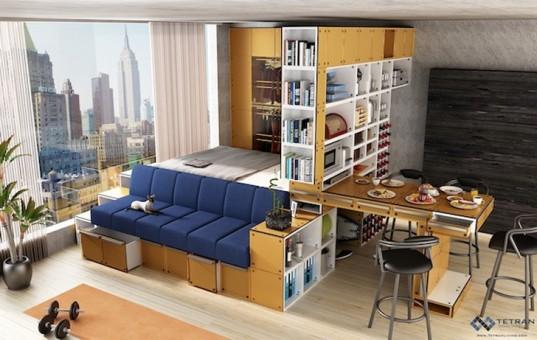 Apartment furniture Tetran Living, transform furniture, customize nyc, tiny apartments, tiny apartment nyc, FVRFFHJ