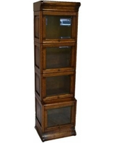 Arts and Crafts Mission Oak 4 Stack Narrow Barrister Bookcase with Leaded TENMLCU