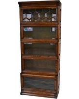 Arts and Crafts Mission Oak 5 Stack Barrister Bookcase with Lead Glass BZKLKBR